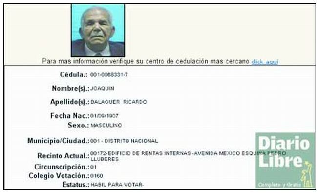 Joaquín Balaguer hábil para votar - © Diario Libre, 2004