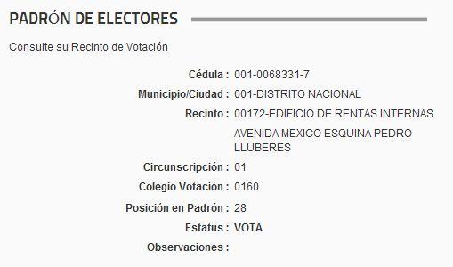 Consulta de la cédula de Joaquin Balaguer en el padrón de la JCE