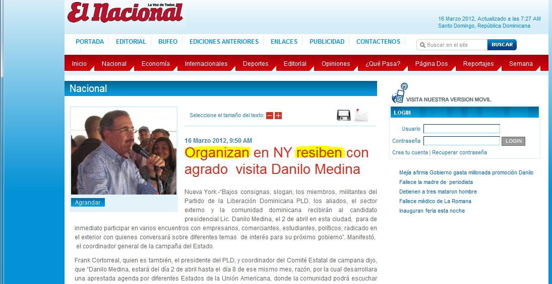 Danilo Medina en New York